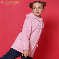 【1件2.5折价:324.5元】Eland kids衣恋童装秋季女童纯色连帽毛呢外套