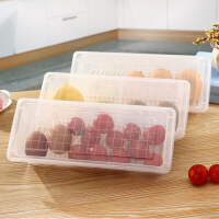 塑料保鲜盒长方形食物收纳盒沥水冰箱储物盒便当饭盒
