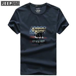 夏装新款吉普JEEP纯棉圆领短袖T恤衫薄款 704001男士宽松大码polo