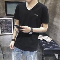 男士T恤v领纯色纯棉韩版修身打底衫男上衣服夏季薄款短袖DS90T30