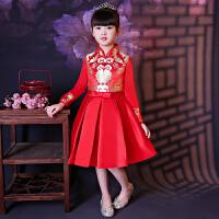 中式儿童晚礼服公主裙春秋长袖加厚大童女童生日旗袍花童演出服红