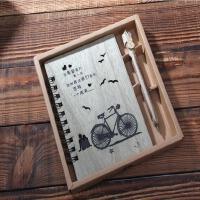 名侦探柯南复古记事本子创意礼品学生文具原木圈线笔记本套装