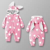 女婴儿连体衣服男宝宝0岁3个月新生儿秋冬装春秋装秋季哈衣外出服