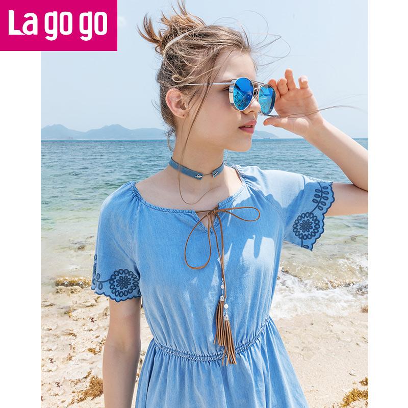 【两件5折后价174.5】Lagogo/拉谷谷2018夏季新款ulzzang流苏刺绣牛仔连衣裙HALL314A24