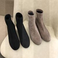 粗跟短靴女2018秋冬季新款中跟圆头磨砂百搭瘦瘦短筒袜靴SN4520