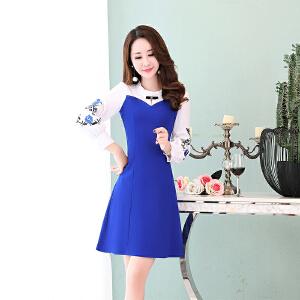 秋季连衣裙女长袖2018新款韩版修身长款休闲拼接印花气质淑女裙子