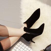 短靴女春秋2018新款马丁靴女靴子黑色冬天鞋子高跟鞋踝靴细跟女鞋