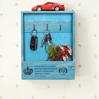 创意家居进门钥匙收纳盒门口壁挂钥匙盒手机储物盒复古木制钥匙箱