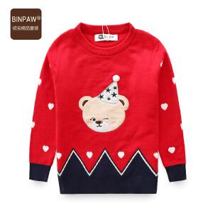 【3件3折 到手价:84元】 BINPAW童装女童双层毛衣 18秋冬新款洋气卡通圆领针织衫套头线衣