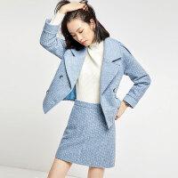 【清仓226元】针织毛呢套装女小香风冬2019新款套裙半身裙两件套