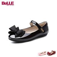 百丽Belle童鞋18新款儿童亮面皮鞋女童时装鞋中童甜美淑女学生鞋 (6-11岁可选) DE0592