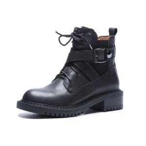 WARORWAR法国新品YG06-1979冬季欧美磨砂牛皮反绒皮真皮低跟女士靴子马丁靴短靴