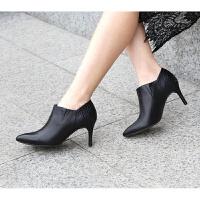 裸靴女秋季2018新款尖头百搭细跟韩版及踝靴女高跟皮鞋短靴女 黑色 黑色7cm
