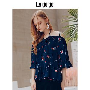 Lagogo/拉谷谷2018年夏季新款时尚小清新印花雪纺衫HASS405Y14