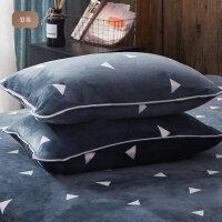 法兰绒单人枕套 冬季保暖加厚枕芯套 一对装珊瑚绒枕头套 48cmX74cm