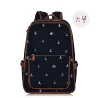 复古英伦风帆布双肩包女韩版初中生校园书包高中学生大容量大背包