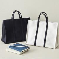 学生书包白领时尚女包手提帆布包女韩版简约大容量公文包a4文件包