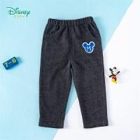 迪士尼Disney童装 男童仿牛仔裤简约休闲长裤春季新品男宝宝直筒裤子