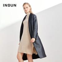 INSUN恩裳时尚简约中长款修身系带皮毛一体大衣黑色皮衣外套