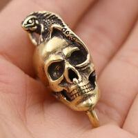 黄铜复古钥匙扣骷髅挂件黄铜蜥蜴骷髅头铜骷髅吊坠装饰扣财布扣