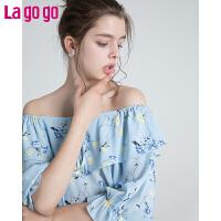 Lagogo2019夏季新款仙女一字领雪纺衫 印花甜美短款上衣小清新女HASS304G98