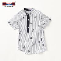【3件2折:39.8】铅笔俱乐部童装2020夏装新款男童条纹衬衫中大童短袖上衣儿童衬衫