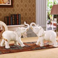 镇宅招财风水客厅电视柜大象摆件一对欧式家居装饰品玄关奢华陶瓷