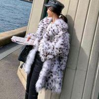 韩米仿狐狸毛皮草外套女中长款西装领豹纹斑点冬季年轻款毛毛大衣