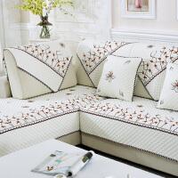 欧式布艺沙发垫含棉四季田园防滑冬季坐垫真皮沙发套后背巾罩定做