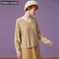 【2件2.5折到手价:42.3】美特斯邦威毛衣女长袖V领彩点学院森女风潮套头毛衫秋装新款