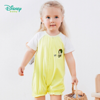 迪士尼Disney童装 女童单排扣连体衣2019夏季新品白雪公主印花爬服纯棉外出服192L795