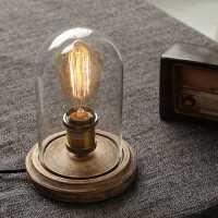 【限时7折】美式复古简约loft爱迪生怀旧卧室床头咖啡厅酒吧实木玻璃台灯调光