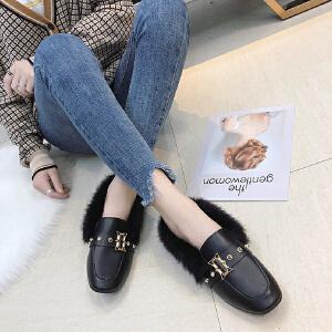 女式 秋冬新款毛毛鞋女外穿韩版平跟一脚蹬豆豆女棉鞋