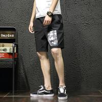 夏季个性印花休闲短裤男士加肥加大码韩版宽松直筒五分裤运动裤子