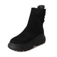马丁靴女英伦短靴冬季松糕女鞋秋夏厚底短筒加厚棉靴女靴雪地棉鞋 黑色 单款