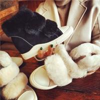 欧洲站冬季新款真皮羊毛雪地靴魔术贴内增高棉鞋复古保暖软底女鞋