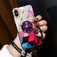 苹果X手机壳iphone7plus新款8plus女款xs七彩菱格6splus保护套镶钻XR