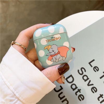 可爱卡通小象AirPods保护套苹果蓝牙无线耳机包保护套防摔收纳盒子套AirPods2代硬壳个性创意 AirPods 1代2代通用 【果绿色小飞象】