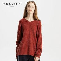 【1件3折价:239.7,18日0点可叠券】纯羊毛MECITY女装连帽套头针织毛衣