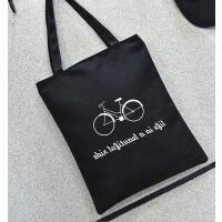 【支持礼品卡支付】新款韩版帆布包文艺男女单肩包手提环保购物袋学生书包 MN-12A帆布