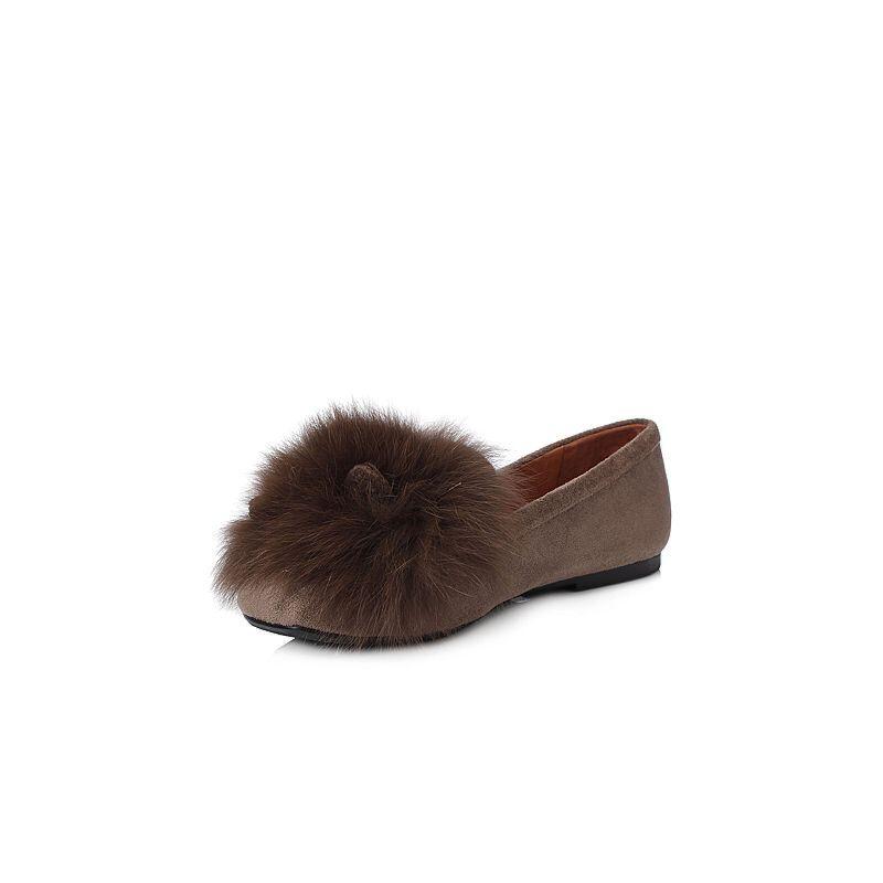 BASTO/百思图2018春季专柜同款绒布/狐狸毛休闲趣味纯色女浅口鞋RGB28AQ8