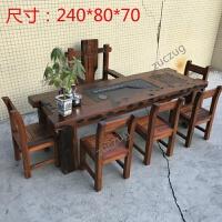 zuczug老船木仿古中式小茶桌沉船木茶桌椅组合阳台茶几茶台全实木家具 整装