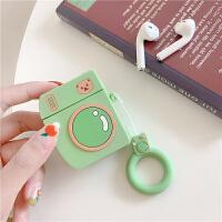 拍立得小熊耳机套AirPods保护套苹果防摔硅胶一二代通用个性创意 绿色硅胶耳机套+手绳 小熊相机