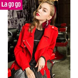 【每满200减100】Lagogo2017新款软妹机车服呢子短外套红色夹克外套女宽松秋冬装