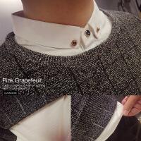 冬季带领假两件毛衣男衬衫领韩版潮流修身上衣打底假领子针织衫男 灰色