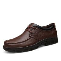 四季软底商务休闲皮鞋男士牛皮厚底系带爸爸鞋中老年大码男单鞋棉鞋