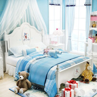 儿童床女孩公主床家具套房1.5米粉白色单人床田园男孩小孩床1.2m o4g