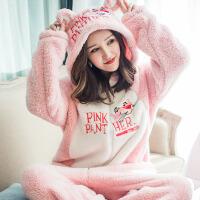 新款秋冬珊瑚绒睡衣女卡通动漫可爱粉红豹连体加厚保暖长袖家居服 粉色