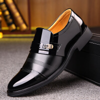 套脚皮鞋男商务正装鞋尖头2019新款男鞋商务正装皮鞋亮皮套脚男士经典爸爸鞋0046BBS