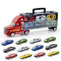 【悦乐朵玩具】儿童早教益智手提货柜车玩具车模型送12小车男孩3-6岁生日礼物玩具